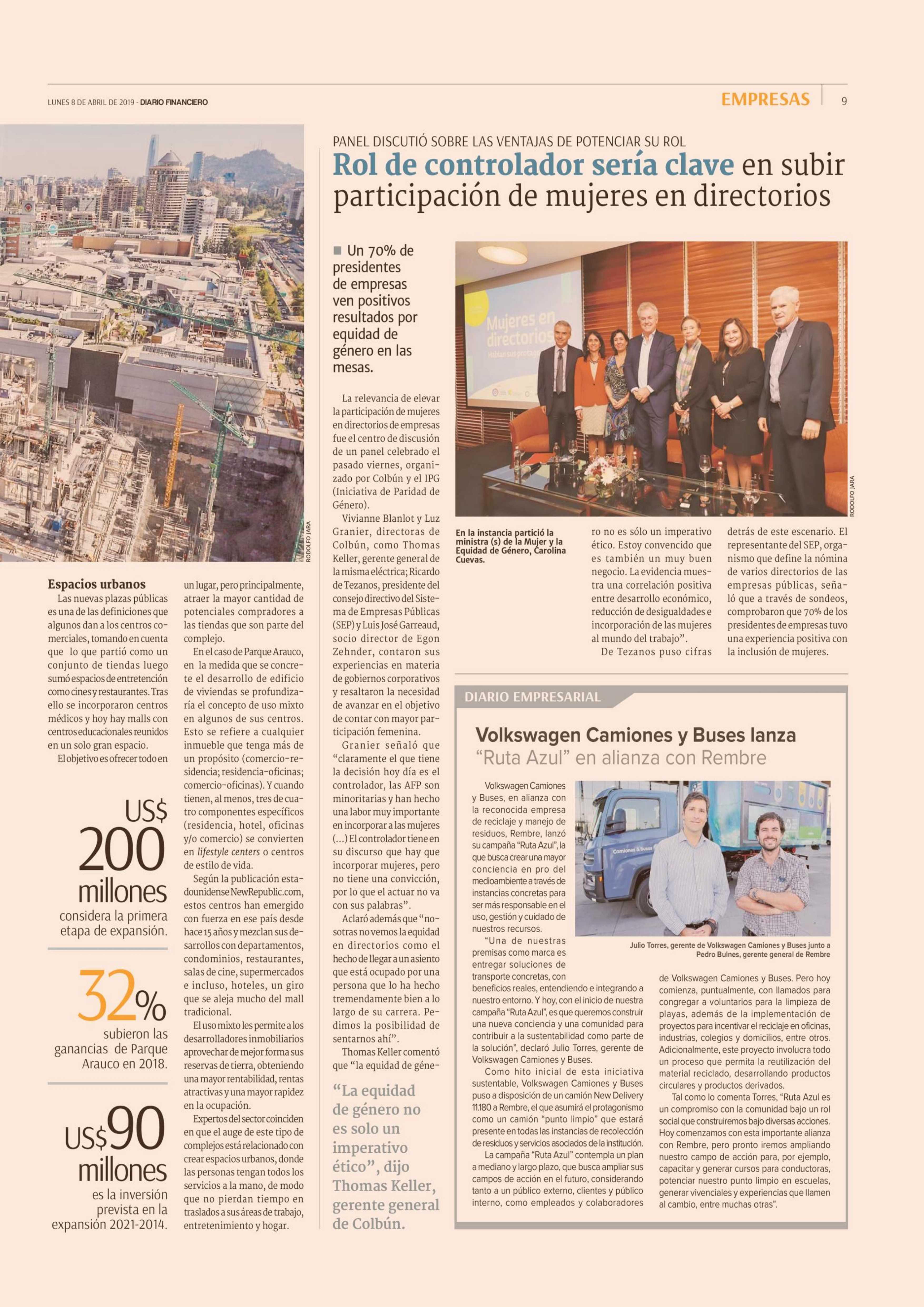 Diario Financiero, Diario Empresarial, VW Camiones y Buses lanza Ruta Azul.