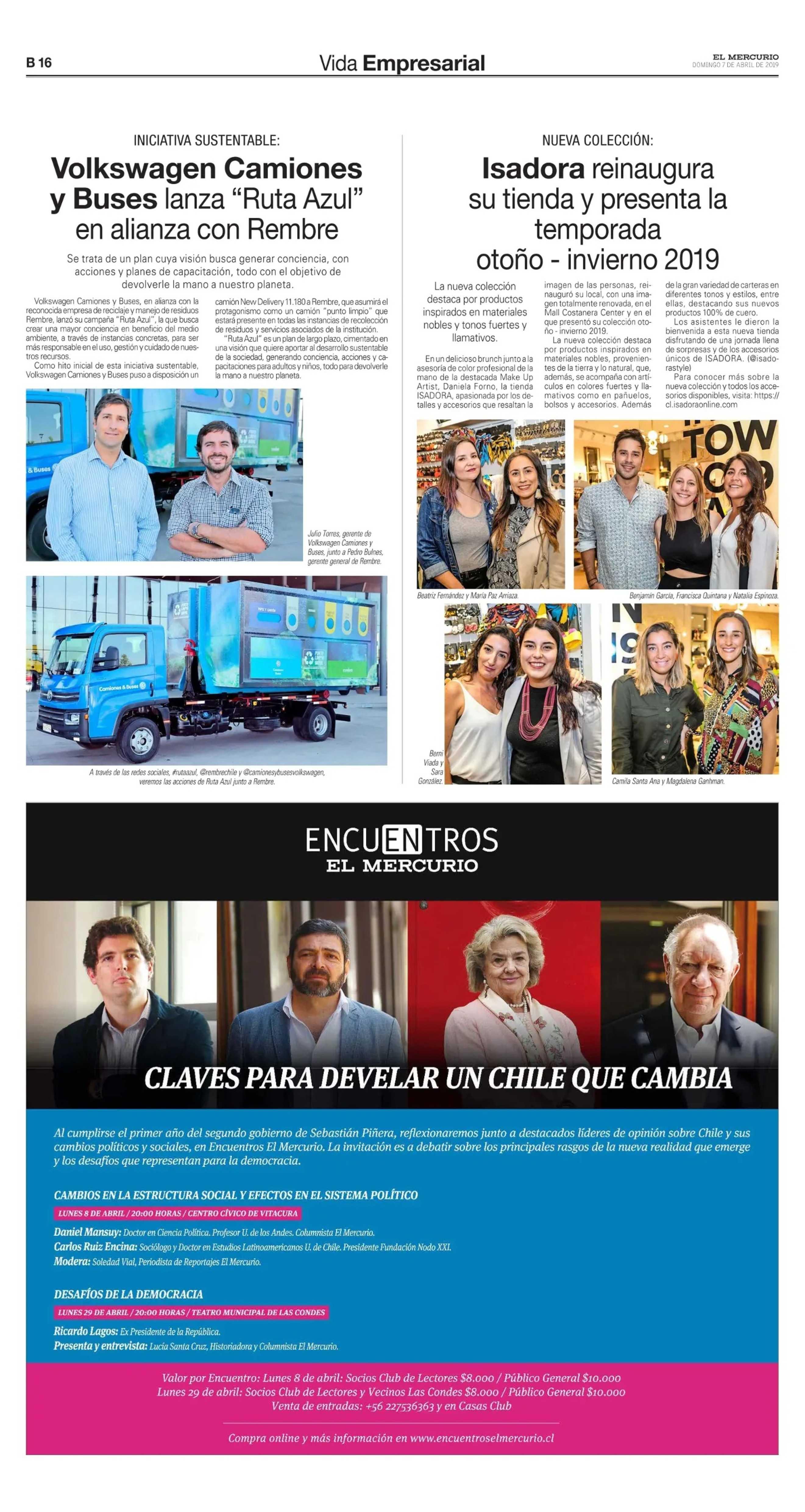 El Mercurio, Vida Empresarial, VW Camiones y Buses lanza Ruta Azul.
