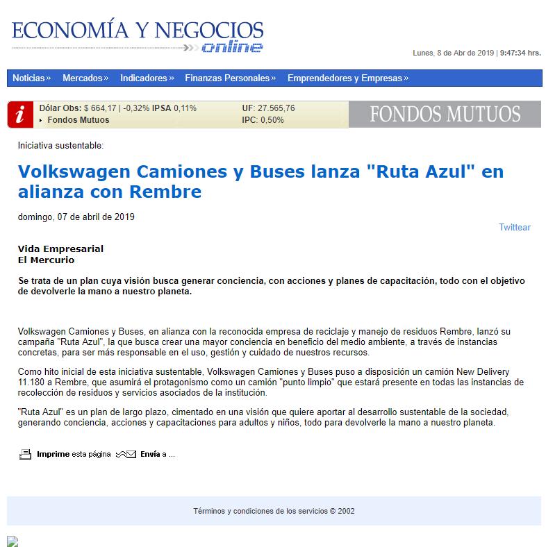 EyNonline.cl, Volkswagen Camiones y Buses lanza Ruta Azul en alianza con Rembre.