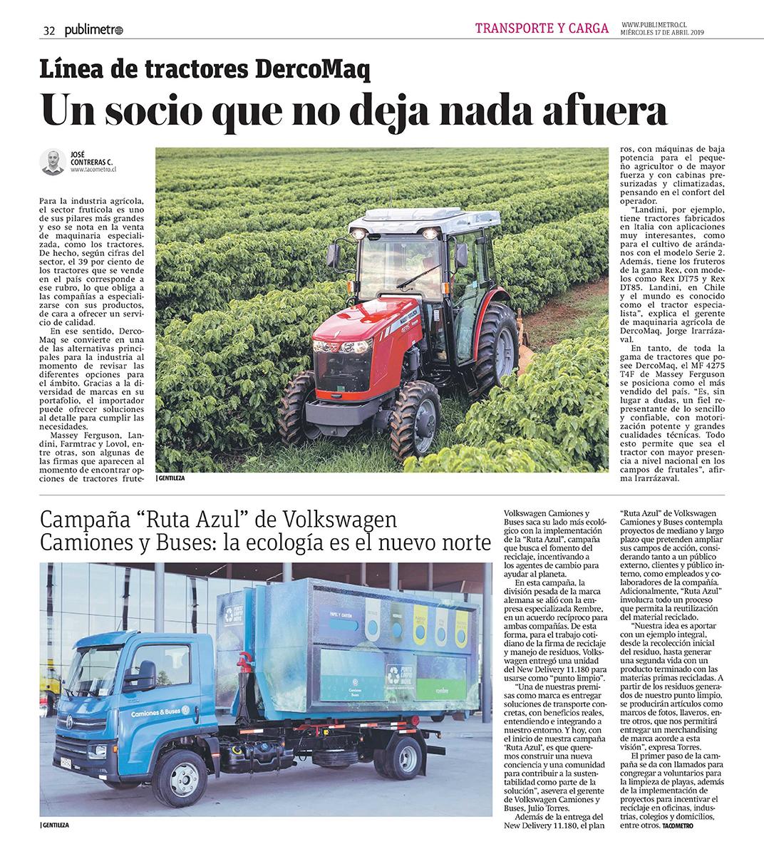 Publimetro, Campaña Ruta Azul de VW T&B la ecología es el nuevo norte.